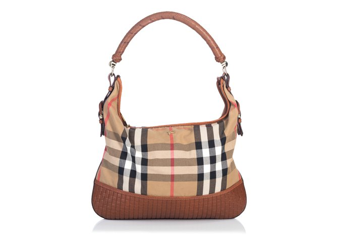 03fb8d7570 Burberry Nova Check Canvas Hobo Handbags Leather,Other,Cloth,Cloth  Brown,Multiple