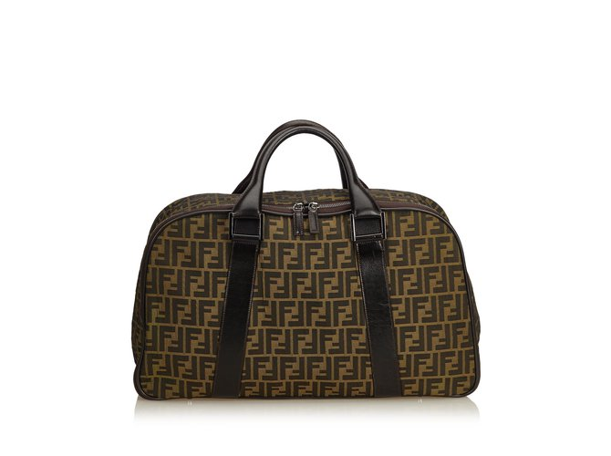 53917695078 Fendi Zucca Canvas Weekender Travel bag Leather,Other,Cloth,Cloth Brown ref.
