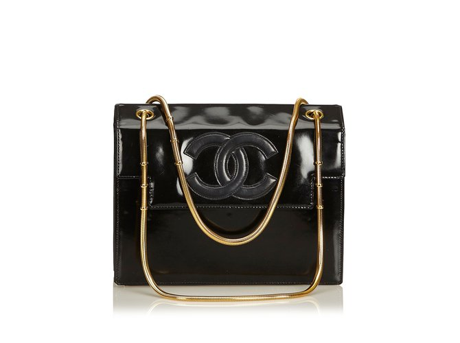 1ae15a78d1e0c5 Chanel Snake Chain Patent Leather Shoulder Bag Handbags Leather,Patent  leather Black ref.91986