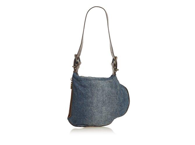 80bc2a36b3a7 Fendi Denim Oyster Bag Handbags Leather