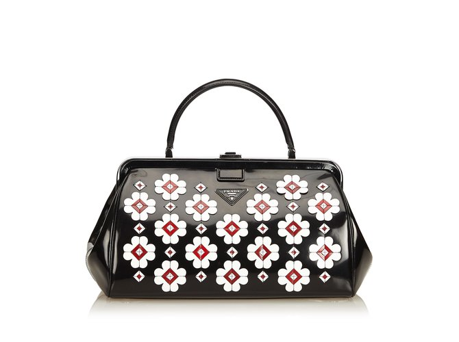 Prada brushed flower applique doctor bag handbags leather patent