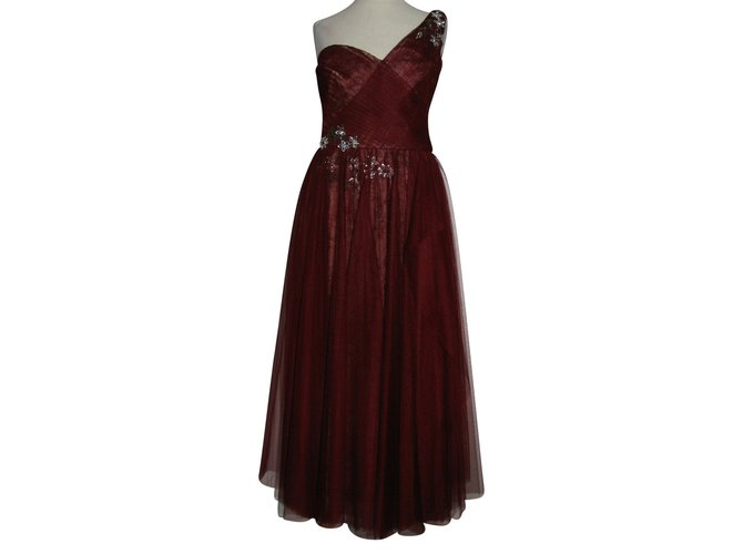 96fc71bc Marchesa Embroidered ball gown Dresses Lace,Tulle Beige,Dark red ref.92041