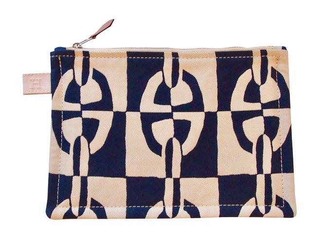 6baa4f12b3c2 Hermès Medium model Atlantic clutch Clutch bags Cotton Dark blue ref.92073