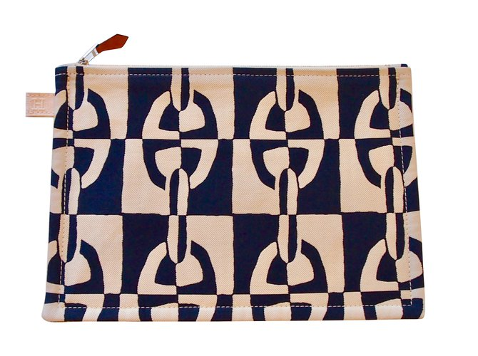 Hermès Large model Atlantic pouch Clutch bags Cotton Dark blue ref.92075