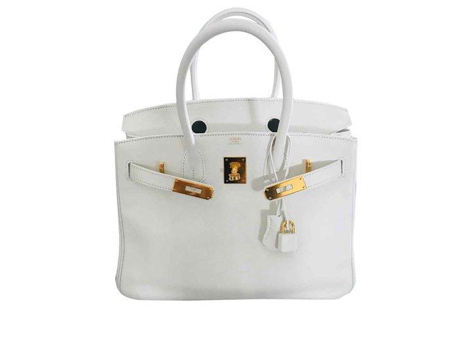 Sacs à main Hermès Blanc Swift Birkin 30 Cuir Blanc ref.92095