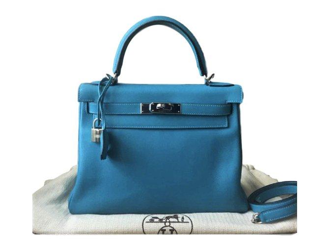 Sacs à main Hermès Kelly 28 Mykonos Swift Cuir Bleu clair ref.92101