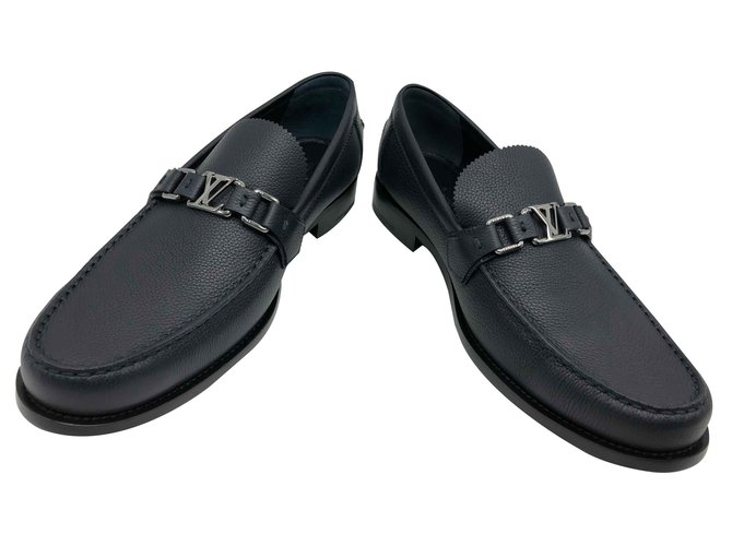 66dd1b9c048 Louis Vuitton Loafer Loafers Slip ons Leather Navy blue ref.92114 ...