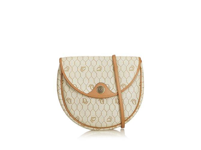 Dior Honeycomb Coated Canvas Crossbody Bag Handbags  Leather,Other,Cloth,Cloth Brown, 6aa5c00aba