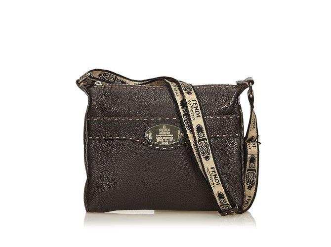 de9fc8e6727 Fendi Leather Selleria Crossbody Bag Handbags Leather,Other Brown,Dark  brown ref.92180