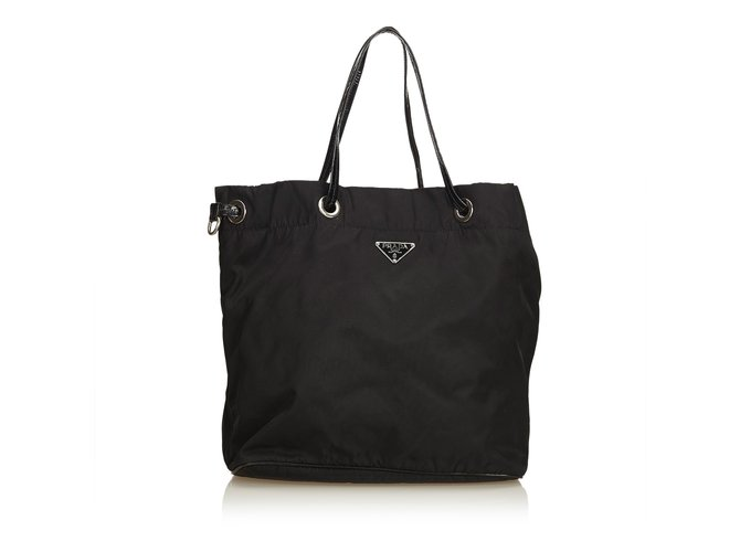 2048d6d9492dde Prada Nylon Tote Bag Totes Leather,Patent leather,Nylon,Cloth Black ref.