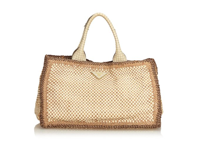 6395da694f65 Prada Woven Madras Tote Totes Leather