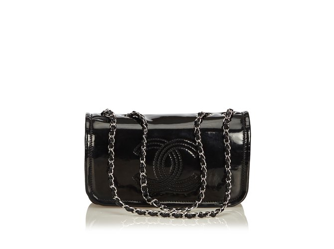 6bedc12b1307fc Chanel Patent Leather Chain Bag Handbags Leather,Patent leather Black  ref.92219
