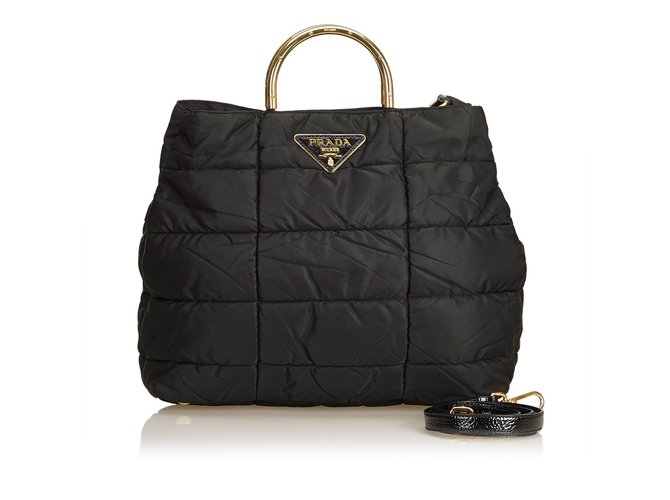 4eb60d21c54c0 Prada Quilted Nylon Satchel Handbags Leather
