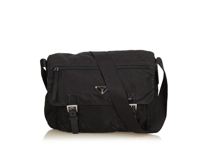 b688596c259 Prada Nylon Messenger Bag Handbags Leather,Other,Nylon,Cloth Black ref.92232