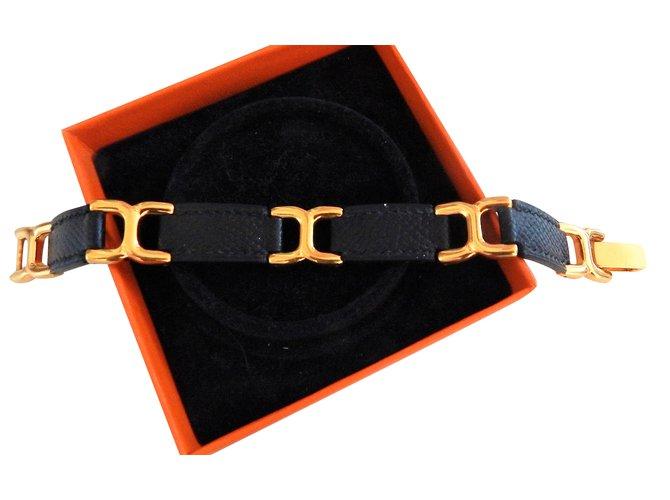 Hermès 18ct Gold Plated Hermes Vintage Bracelet with Navy Blue Lizard  Bracelets Gold-plated Navy 4689edc0fc4a8
