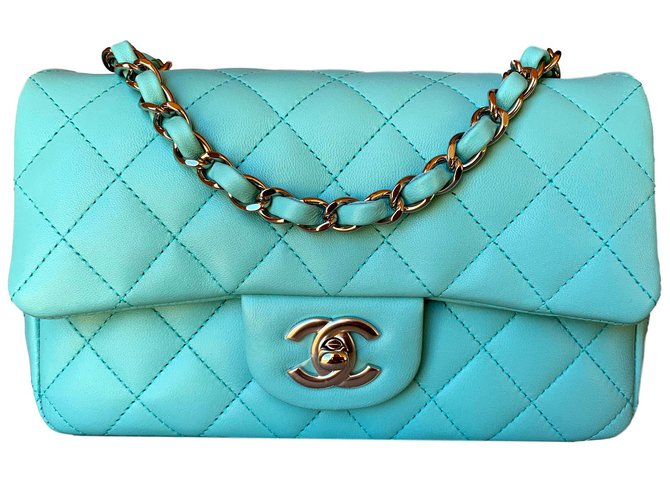 5375b28e1e69 Chanel Light Blue Classic Quilted Lambskin Mini Flap with Silver Chain  Handbags Leather Light blue ref