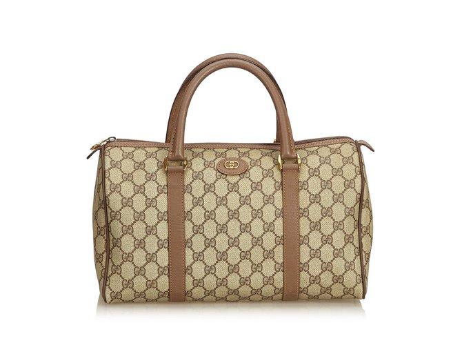 d2dd34307 Gucci Guccissima Boston Bag Handbags Leather,Other,Plastic  Brown,White,Cream,