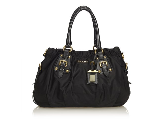 c50a23663b3f Prada Logo Nylon Tote Bag Totes Leather,Other,Nylon,Cloth Black ref ...