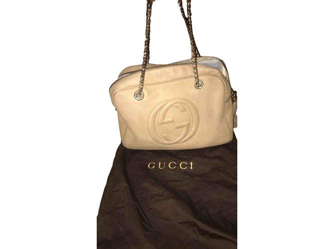 Gucci Gucci soho big model Handbags Leather Beige ref.92468