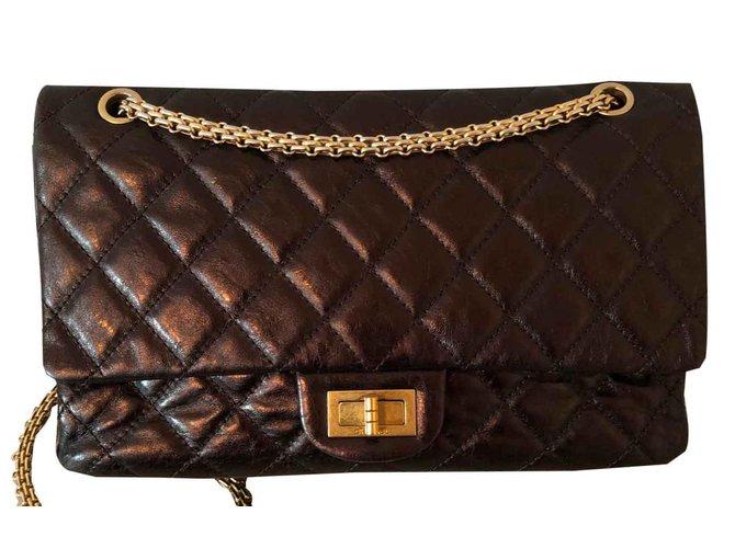 Sacs à main Chanel Reissue Cuir vernis Noir ref.92485