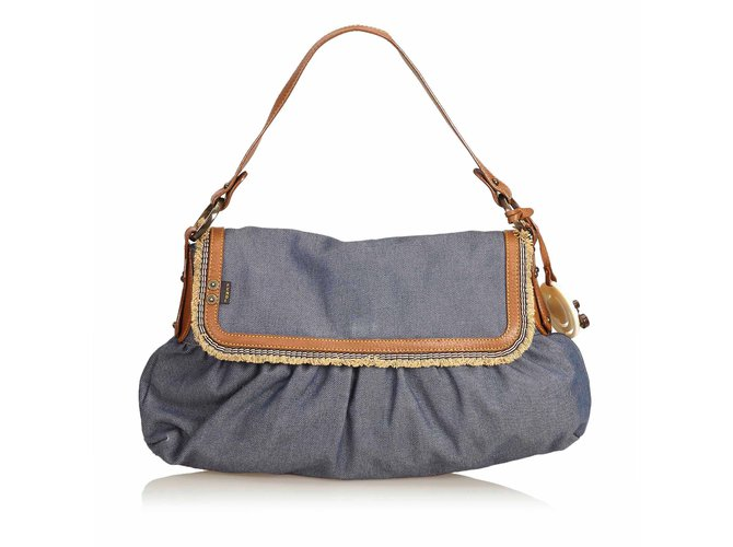 3aa2cc746fcf Fendi Denim Chef Baguette Handbags Leather