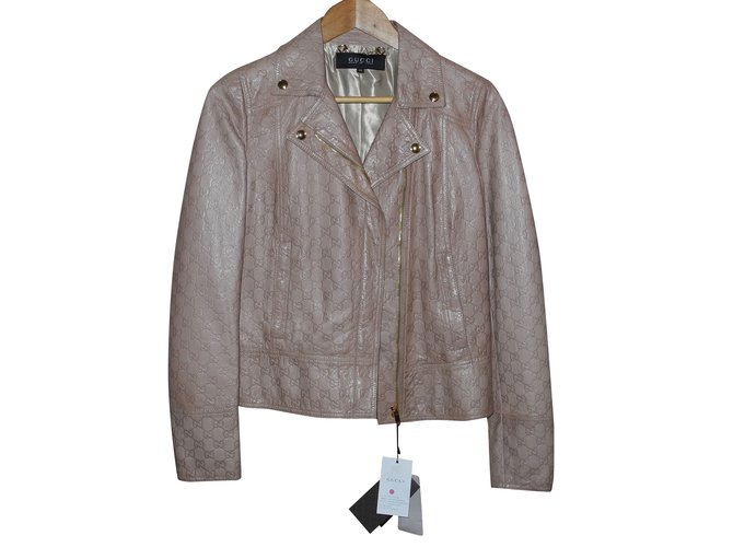 Gucci beige monogrammed leather jacket Jackets Leather Beige ref.92751 732bbc034