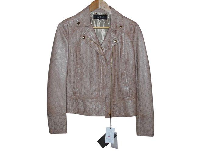 Vestes Gucci veste en cuir monogrammé beige Cuir Beige ref.92751