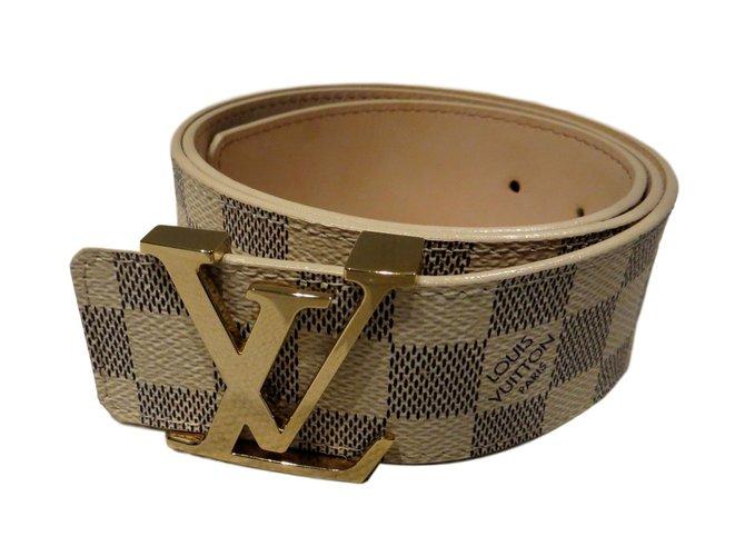 627393fa6244 Louis Vuitton LV INITIALS DAMIER AZUR BELT M9609 Belts Leather  Eggshell