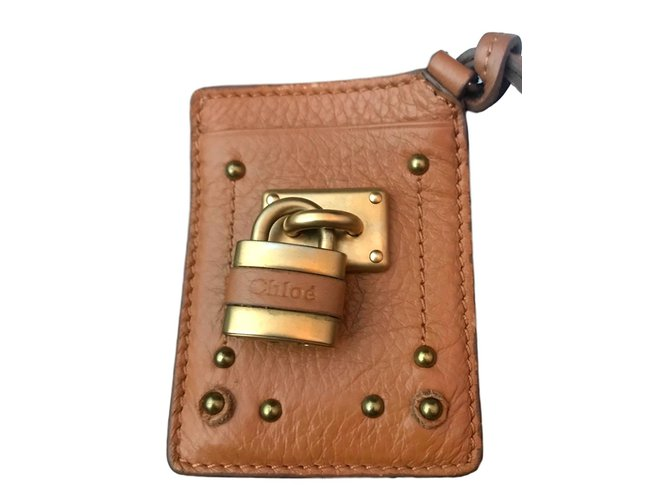 Chloé Keychain card holder Purses, wallets, cases Leather Cognac ref.92845