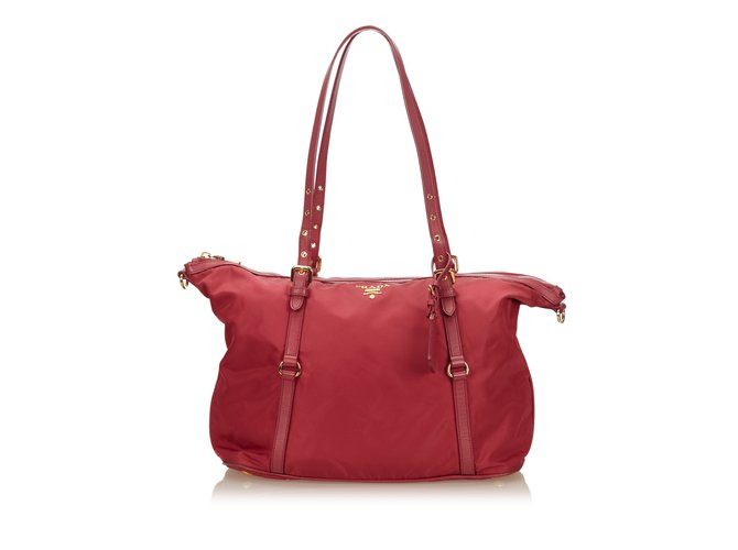 5f82955794b9 Prada Nylon Shoulder Bag Handbags Leather,Other,Nylon,Cloth Red,Dark red