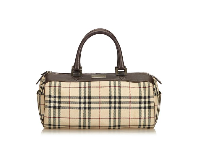 Burberry Plaid Coated Canvas Boston Bag Handbags Leather 927ec351fa681