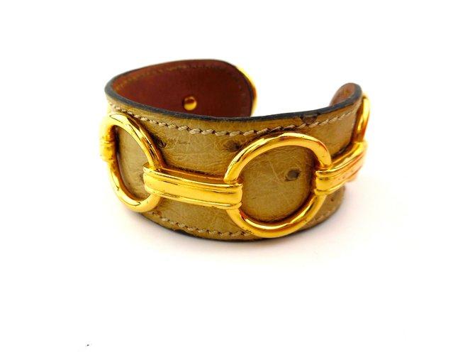 Bracelets Hermès Bracelet manchette Hermès Beige en cuir véritable autruche Cuir Beige ref.93029
