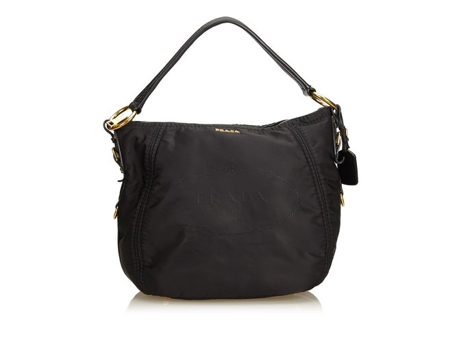 b7c84e6e905c Prada Hemp Fabric Nylon Hobo Bag Handbags Leather