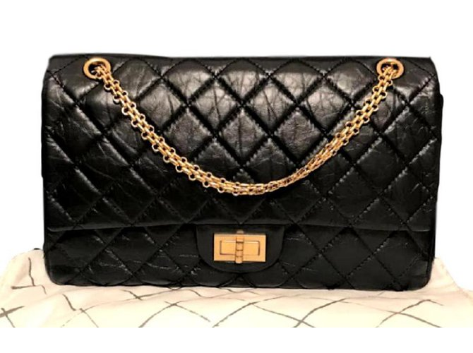 a8921b388626 Chanel 2.55 Reissue 227 Handbags Leather Black ref.93258 - Joli Closet
