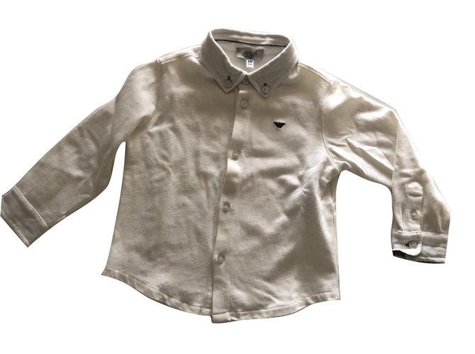 Tops garçon Armani Chemise chic ARMANI BABY Coton Blanc ref.93327