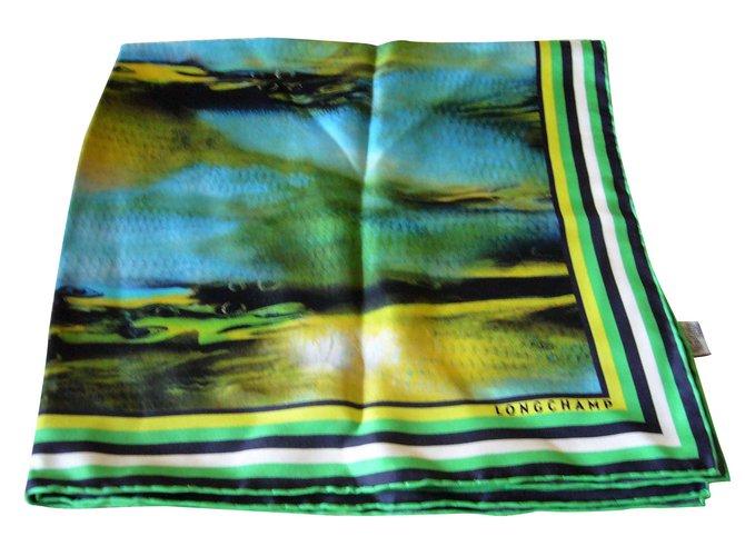 Foulards Longchamp Carré en soie Longchamp Soie Multicolore ref.93375 422ba78d3c2