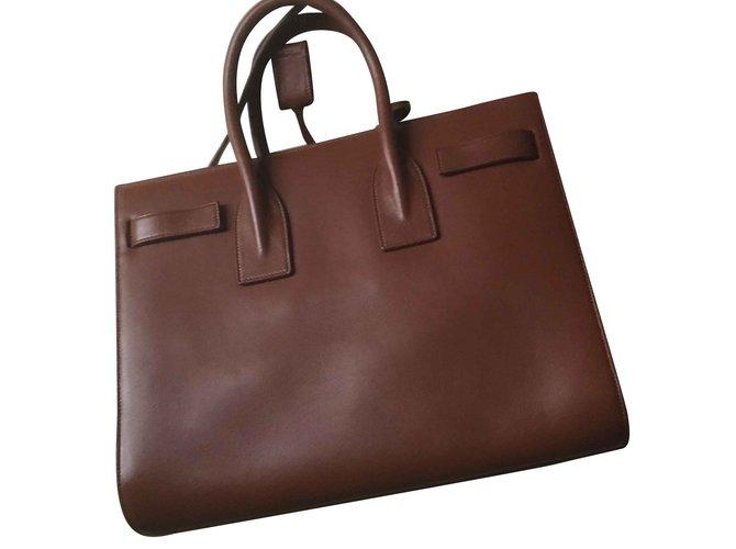 Saint Laurent Sac de jour Handbags Leather Caramel ref.93376 - Joli ... 37a7f4121780