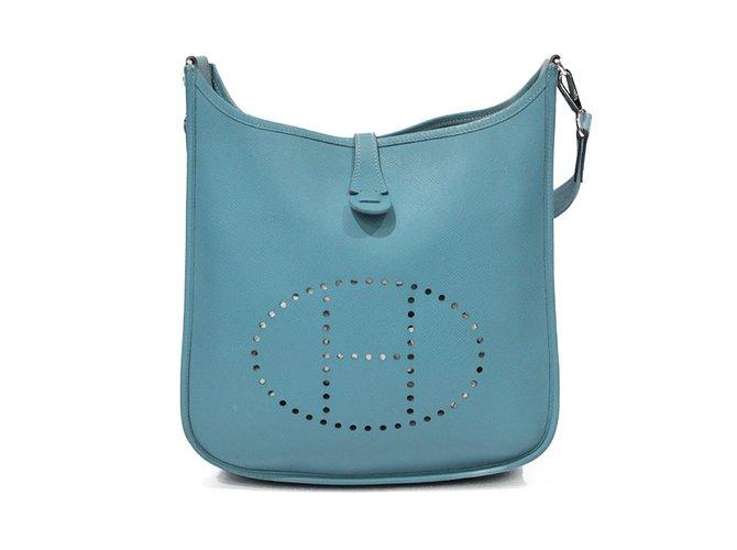 Sacs Main Evelyne Bleu Hermès En Cuir Ref Sac À 93409 lJcFT3K1