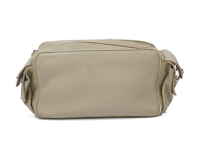 Burberry VINTAGE BURBERRY BEIGE LEATHER BAG Handbags Leather Beige ref.93433
