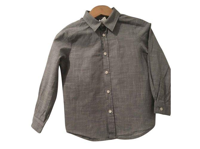Les ensembles garçon Bonpoint Ensemble jeans et chemise garçon Coton,Jean Noir,Blanc,Bleu ref.93453