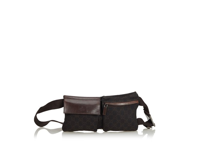 27a9e604af0593 Gucci Guccissima Canvas Belt Bag Clutch bags Leather,Other,Cloth,Cloth  Brown,