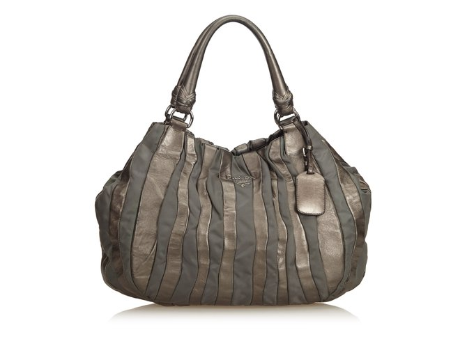 f4753d5dca68fc Prada Gathered Leather Hobo Bag Handbags Leather,Other,Nylon,Cloth  Silvery,Other