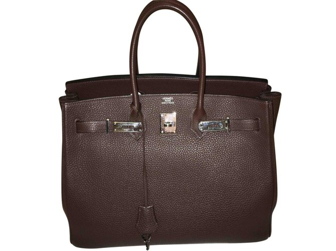 Hermès Birkin 35 Handbags Leather Brown ref.93609