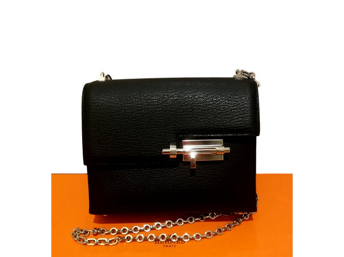 Hermès Verrou mini Handbags Goatskin Black ref.93652