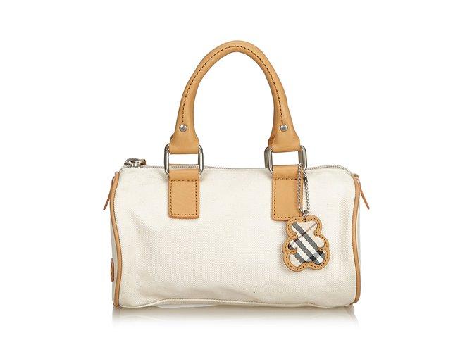 232fcce91b41 Burberry Canvas Boston Bag Handbags Leather