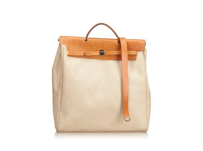 dd510e67a Hermès Herbag MM Handbags Leather,Cloth,Pony-style calfskin,Cloth Brown,