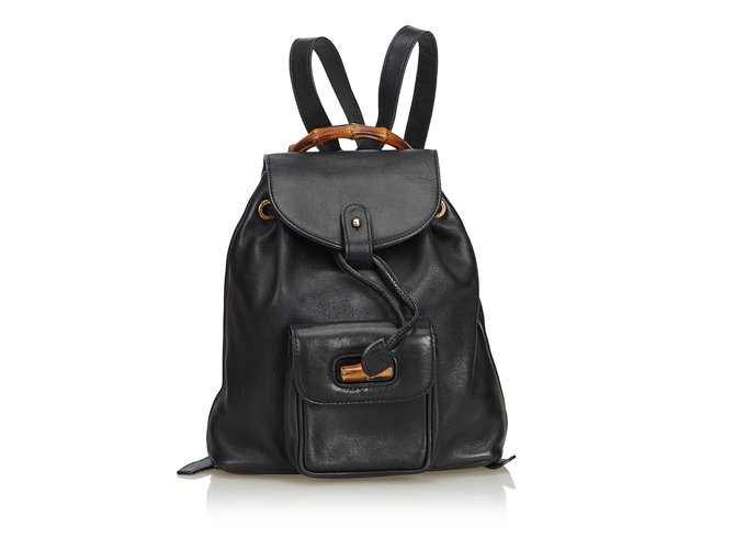 Gucci Bamboo Leather Drawstring Backpack Backpacks Leather