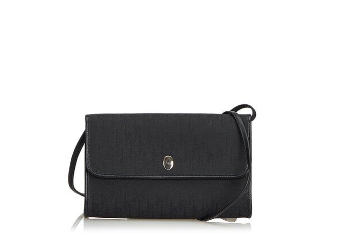 f273872cd6 Dior Oblique Canvas Crossbody Bag Handbags Leather,Other,Cloth,Cloth Black  ref.