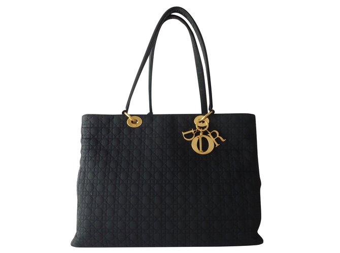 00390006615d6 Christian Dior BAG LADY DIOR GM CANVAS BLACK Handbags Cloth Black ref.93785
