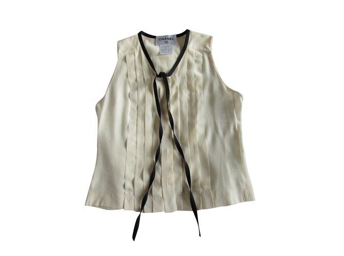 Chanel Tops Tops Silk Cream ref.93830